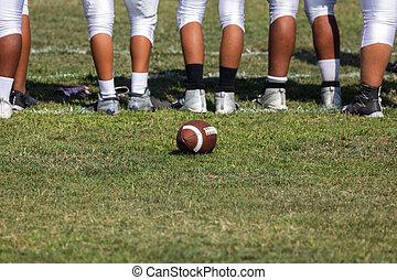 ficar, jogadores, americano, sideline, futebol