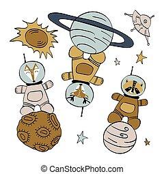 ficar, jogo, planetas, animais, cute