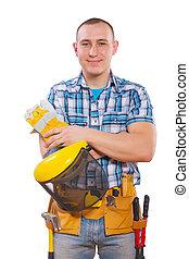ficar, jovem, carpinteiro, olhar,  câmera, ferramentas