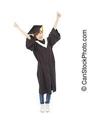 ficar, jovem, cima, graduado, estudante, menina, mão, feliz