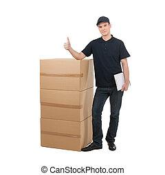 ficar, jovem, deliveryman., deliveryman, alegre, caixas,...