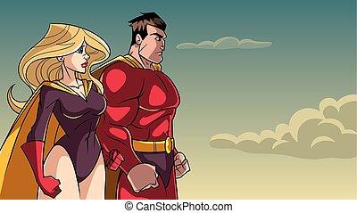 ficar, junto, par, superhero