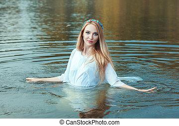 ficar, lake., mulher, água
