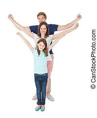 ficar, levantado, família, braços, linha, feliz