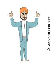 ficar, levantado, hindu, braços cima, homem negócios