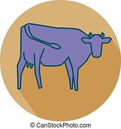 ficar, linha, silueta, vaca