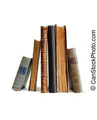 ficar, livros, antigas, isolado, pilha