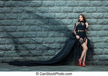 ficar, longo, wall., menina preta, vestido