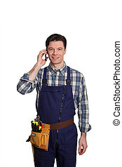 ficar, móvel, carpinteiro, telefone, fundo, branca