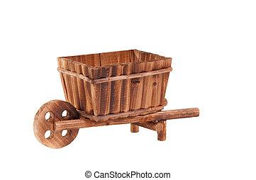 ficar, madeira, feito à mão, isolado, carreta, fundo, modelo, branca