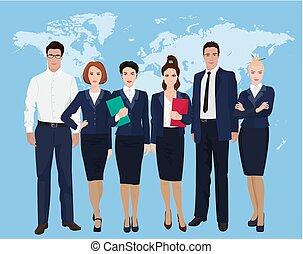 ficar, mapa, grupo, negócio, sobre, equipe, businesswoman., experiência., profissional, homem negócios, mundo, feliz
