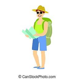 ficar, mapa, mão., seu, turista, coloridos, mochila, personagem, isolado, jovem, fundo, segurando, branca, caricatura, homem