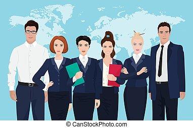 ficar, mapa, negócio, sobre, formado, jovem, experiência., homens negócios, equipe, mundo