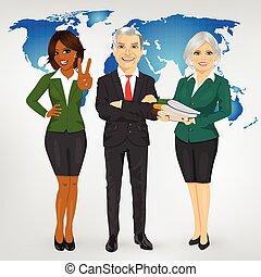 ficar, mapa, negócio, sucedido, profissional, maduras, equipe, frente, terra