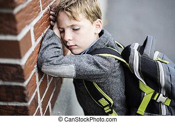 ficar, menino, escola, exterior, estudante