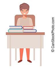ficar, menino, escola, jovem, estudante, escrivaninha