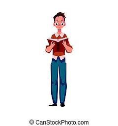 ficar, menino, interessante, jovem, livro, posição, leitura, homem