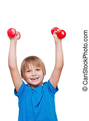 ficar, menino, pequeno, dumbbells, isolado, exercitar, olhar...