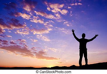 ficar, montanha, conceito, liberdade, topo, homem negócios