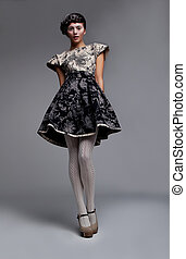 ficar, morena, na moda, cinzento, supermodel, vestido