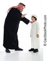 ficar, muçulmano, pai, junto, filho, árabe