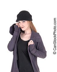 ficar, mulher, casaco inverno, jovem, chapéu