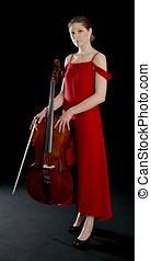 ficar, mulher, cello, beautitful