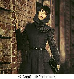 ficar, mulher, clássicas, parede, agasalho, jovem, triste, moda, headscarf