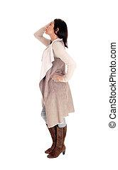 ficar, mulher, coat., deerskin