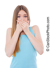 ficar, mulher, cobertura, gossiping., não, jovem, chocado,...