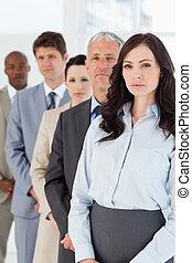 ficar, mulher, dela, executivo, jovem, vertical, colegas...