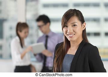 ficar, mulher, escritório, negócio, asiático