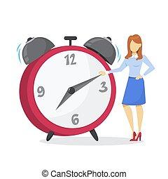 ficar, mulher, grande, clock., gerência, tempo