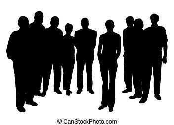 ficar, mulher, grupo, pessoas, jovem, frente