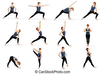 ficar, mulher, ioga, vário, condicão física, poses
