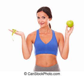 ficar, mulher jovem, tentando, perda peso