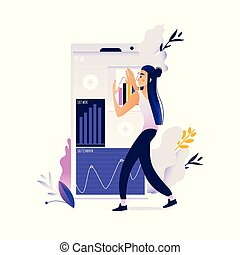 ficar, mulher, móvel, concept., aplicações, avatar, dispositivo digital, tela