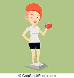 ficar, mulher, maçã, mão., escala, segurando