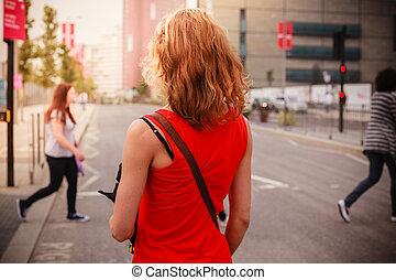 ficar, mulher, rua, jovem