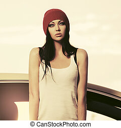 ficar, mulher, tanque, dela, car, topo, jovem, ao lado, moda, hipster, branca