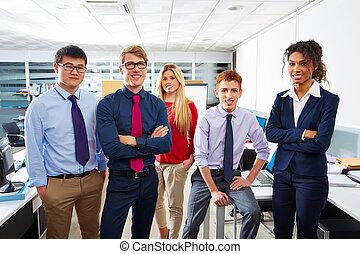 ficar, multi, pessoas negócio, equipe, jovem, étnico