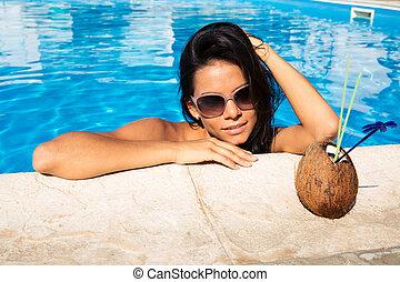 ficar, nade, mulher, piscina