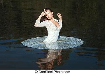 ficar, nature., mulher, lago