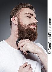 ficar, navalha, barbudo, elétrico, jovem, contra, cinzento, confiante, enquanto, perfect., barba, fundo, fazer, homem, raspar