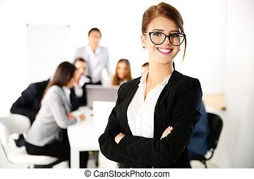 ficar, negócio, executiva, frente, retrato, reunião