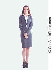 ficar, negócio mulher, escritório., braços cruzaram, retrato