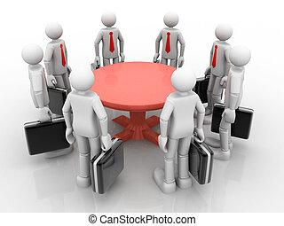 ficar, negócio, redondo, Homens negócios, tabela, reunião, tendo,  3D