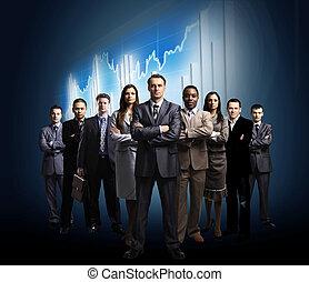 ficar, negócio, sobre, formado, jovem, escuro, homens negócios, fundo, equipe