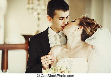 ficar, noivo, dela, hotel, beijos, noiva, atrás de, corredor
