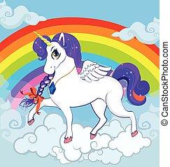 ficar, nuvens, personagem, rainbow., unicórnio, pônei, branca